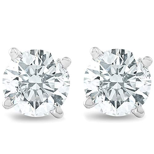 3/4Ct Round Brilliant Natural Diamond Stud Earrings in 14K White Gold Setting