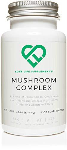 Love Life Supplements - Vitalpilz Komplex mit 5 Pilzen, Reishi, Chaga, Cordyceps, Hericium erinaceus und Shiitake, 60 Kapseln