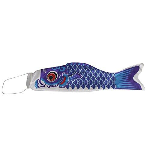 Demarkt Japanisch Windsock Karpfen Flagge Windsack Koinobori Fisch Wind Streamer 70CM Blau