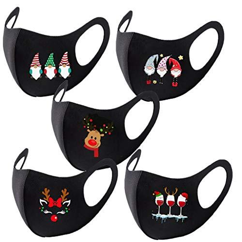Bumplebee Mundschutz mit Motiv Weihnachten 3D Cartoon Druck Bandana Maske Waschbar Multifunktionstuch Mehrweg Atmungsaktiv Mund und Nasenschutz Halstuch für Damen Herren (Mehrfarbig A3, One size)