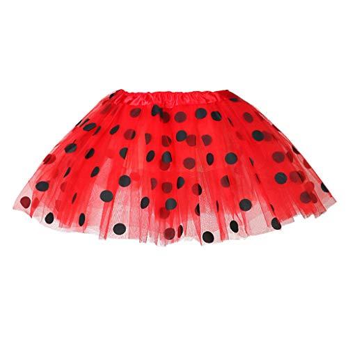 Krissy Mädchen Tutu Damen Frauen Rock Rot mit weißen Punkten als Kostüm Accessoire für Fasching Karneval Motto Party Mädchen Kostüm Mini Polka Dots Rock Karneval Weihnachten Party Outfit