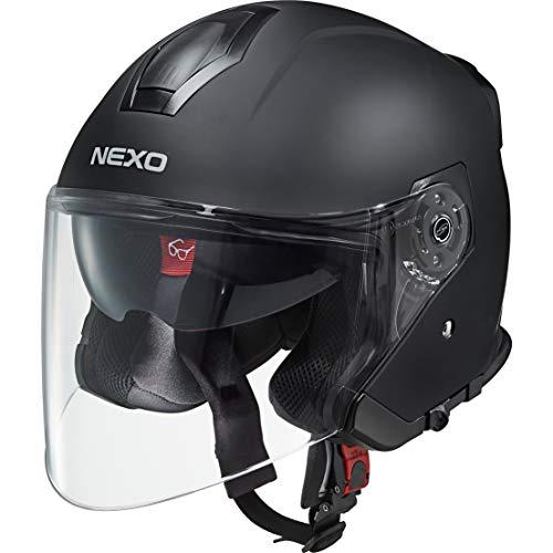 Nexo Jethelm Motorradhelm Helm Motorrad Mopedhelm Jethelm Travel 2.0 mattschwarz M, Unisex, Chopper/Cruiser, Ganzjährig, Thermoplast, matt schwarz