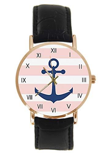 Vintage Nautical Anker mit Rose Blumen Armbanduhr Mode Klassisch Unisex Analog Quarz Edelstahl Gehäuse Lederband Uhren