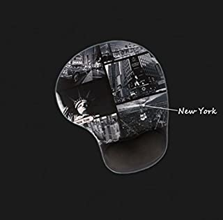 AKOAK Creative Black-and-White Building Images Skid Resistance Memory Foam Soft Comfortable Mouse Pad with Wrist Rest for Laptop and Desktop Computer(New York)