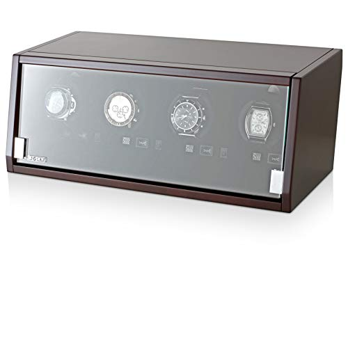 Watch Winder for Winding 4 Automatic Watches with LED Backlight for All Watch Brands and All Watch Sizes (Brown Walnut)