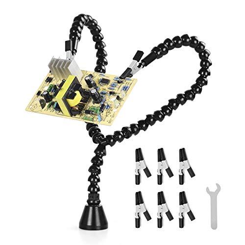 Ayudando a Las Manos Soldando, NEWACALOX Brazo en forma de'Y' Herramienta de Tercera Mano con Fuerte Base Magnética y 6 Pinzas de Cocodrilo para Soporte para PCB Soldadura Desoldar Reparando