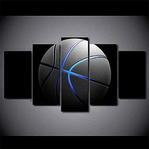 MSKJFD 5 Paneles/Piezas HD impresión Mural de Pared Cartel Baloncesto Lienzo Pintura