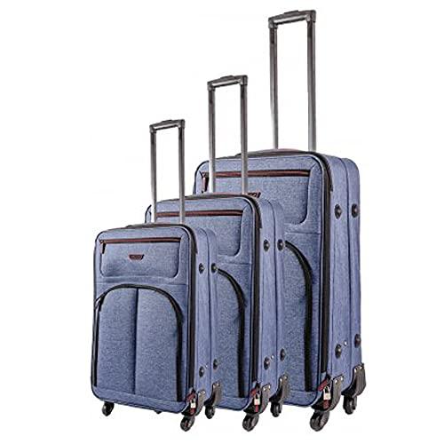 Juego de 3 maletas de viaje, dos compartimentos frontales con cremallera y compartimento principal con forro interior, azul marino/rojo, Talla única,