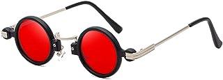 QWKLNRA - Gafas De Sol para Hombre Marco Negro Lente Roja Retro Punk Against-UV Gafas De Sol Modernas Mujeres Vintage Pequeñas Sombras Redondas Hombres Uv400 Ciclismo Viajes Pesca Gafas De Sol Al Air