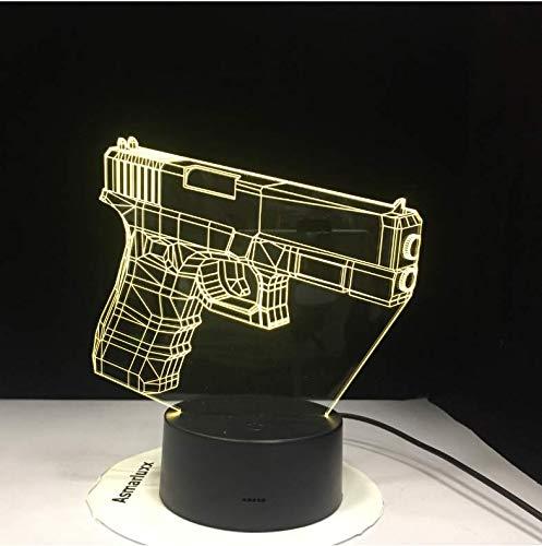 Infanterie Veilleuse Led 3D Illusion Usb Tactile Capteur Enfant Enfants Cadeau Fps Jeu Arme Pistolet M4 Ak 47 Lampe De Table Bureau