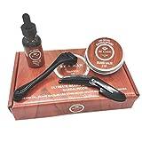Lurrose - Kit per la crescita della barba da 0,25 mm, con rullo derma con olio per la crescita della barba, pettine e balsamo per la barba per adulti