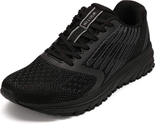 JOOMRA Mens Tennis Shoes Arch Supportive Crossfit Trail Running Sneakers Black Size 9.5 Lace Cushion Man Fashion Runner Walking Jogging Breathable Sport Footwear