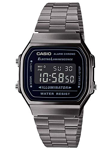 Casio Mens Digital Japanese Quartz Watch with Stainless Steel Strap A168WEGG-1BEF