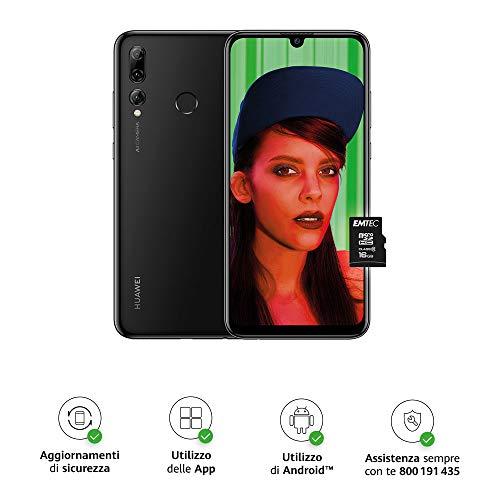 """HUAWEI P smart+ 2019 e MicroSDHC 16 GB Class 10, Smartphone con 64 GB, Display 6.21"""" FHD+, Tripla Fotocamera Posteriore 24+16+2 MP, Processore Octa Core Dinamico con IA, Nero [Versione Italiana]"""