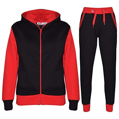 A2Z 4 Kids® Kinder Trainingsanzug Mädchen Jungen Designer Plain Kontrast - T.S Plain 101 Red 5-6