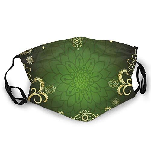 TABUE Gesichtsschutz Mundschutz Arabesque Frame Mit Lotus Shade Floral Swirls Kleine Herzen Und Punkte Ski Hut Hals Gamasche Kopfbedeckung