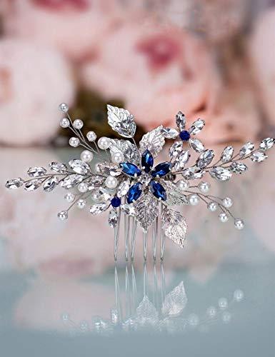 Anglacesmade Brautschmuck Saphir Kristall Haarkamm Perle Blau Kristall Blatt Marquise-Haarteil...