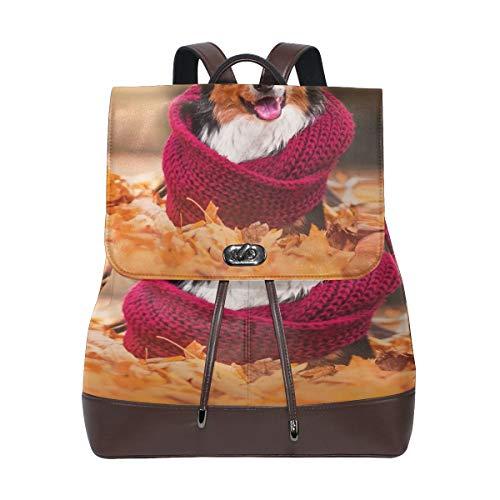 Border Collie Rucksack Geldbörse Mode PU Leder Rucksack Casual Rucksack für Frauen
