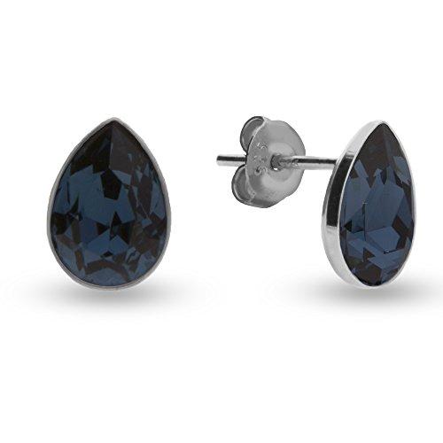 Swarovski Elements Damen Ohrstecker Silber 925, Swarovski Kristall dunkelblau tropfen by Spark