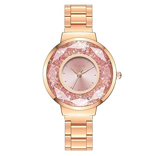 JZDH Relojes para Mujer Relojes Mujeres Famosas Mujeres Diamante Rolling Beads Casual Reloj de Cuarzo Mujeres Finas Relojes de Acero Inoxidable Relojes Decorativos Casuales para Niñas Damas