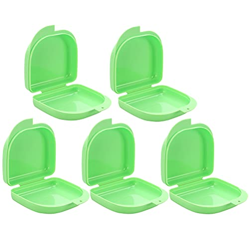 VALICLUD 5pcs Retainer Case Teeth Guard Case Orthodontic Dental Retainer Box Denture Storage Container for Travel Office (Green) Gift