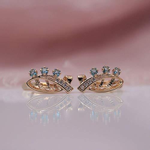CHQSMZ Pendiente Nuevo 585 Oro Rosa Pendientes Originales de Ojo de Caballo Cuadrados Azules Pendientes de circonita Natural joyería de Moda para Fiesta de Boda para Mujer
