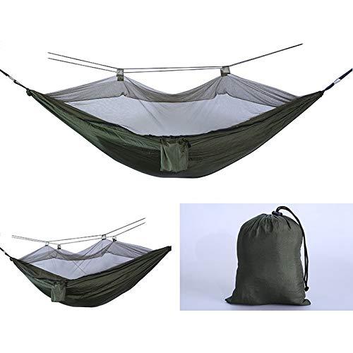 NO LOGO HWW-NET Hamac de camping simple et double avec moustiquaire, portable, pour extérieur, tente de parachute, lit de couchage (32 x 39 cm), taille : 260 x 140 cm)