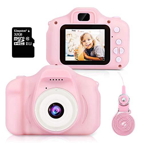 Cámara para Niños,Hommie Cámara de Video 1080p HD con Mmoria 32GB, Doble Lente, Pantalla LCD a Color,Cámara para Niña, Rosa