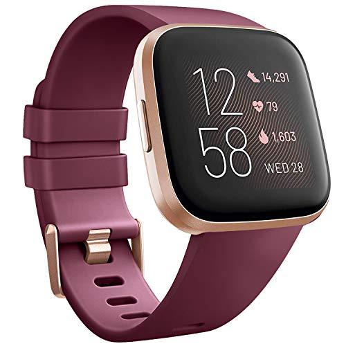 Wanme Compatible con Fitbit Versa 2 Correa Silicona Suave Ajustable Deportivo Pulsera de Reemplazo Compatible para Fitbit Versa 2 SE Mujeres y Hombres Pequeño Grande (L, 03 Vino Tinto)