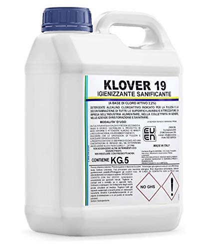 6 unidades de 5 kg (30 kg). Limpiador desinfectante a base de cloro activo al 2,2 %. Indicado para la limpieza de oficinas, actividades comerciales, entidades públicas (5).