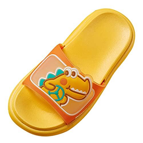 Zapatillas de suelo suave para niños y niñas, zapatillas de estar por casa, para verano, antideslizantes, para exteriores, unisex, planas, con dinosaurios, amarillo, 30