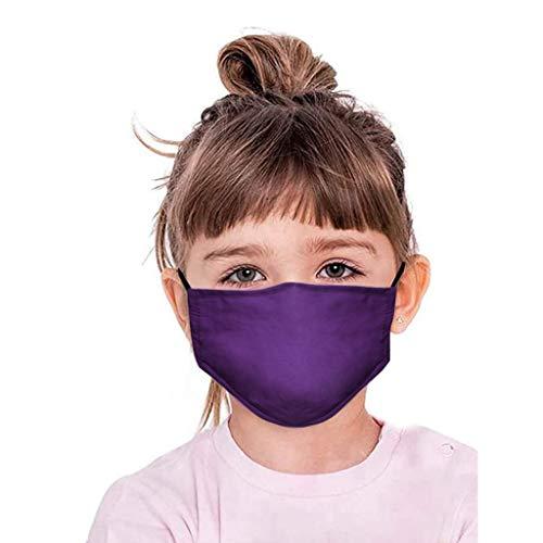 Supertong Kleinkinder Kinder Weich Baumwolle Mundschutz Tägliche Pflege Staubdicht Einfarbige Gesichtsschutz Wiederverwendbar Waschbar Atmungsaktiv Face Shield (Lila)