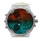 Diesel Men's MR. Daddy 2.0 Stainless Steel Quartz Watch with Polyurethane Strap, Clear, 28 (Model: DZ7427)