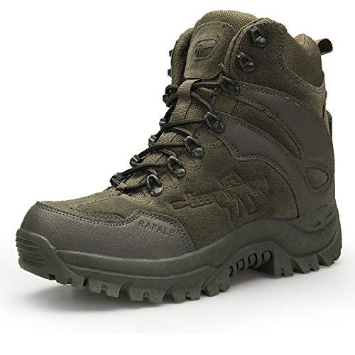 AONEGOLD Hombres Botas de Senderismo Zapatos de Trekking Botas Tácticas Transpirables Militar Senderismo Zapatos Botas de Invierno(Verde,43 EU)