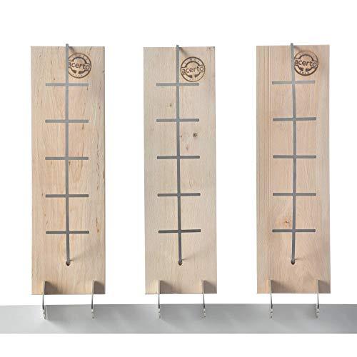 acerto 31839 Flammlachsbrett aus Birke - 3 Stufen einstellbar - Lachs bis 1,5kg - Original Flamm-Lachsbrett, Lachsflammbrett für echten Feuerlachs (3)