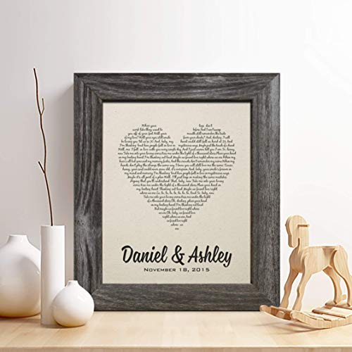 Personalized 2nd Year Anniversary Cotton Gift, First Dance Song Cotton Print