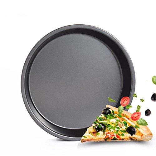 B&C.Room Rond Plaque à Pizza Professionnelle Anti-Adhésif en INOX Carbone Plateau Plat De Four Pie Moule Gâteau Noir