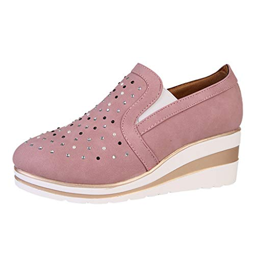Luckycat Deportivo Piel Plataforma Mujer Zapatos Planos con Cordones Mujer Brogue Zapato Mujer Mocasines Plataforma Casual Loafers Primavera Verano Zapatos de Cuña 5cm 6 cm Tallas Grandes Botas