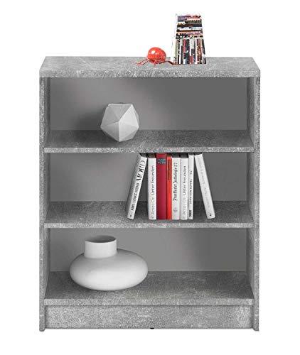 Wohnzimmerregal Standregal Bücherregal | 3 Fächer | Dekor | Betonoptik | Weiß | BxHxT: 72x86x34 cm