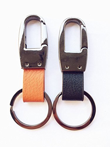 Leather Valet Key Chain,Key Ring Holder, Heavy Duty Hardward Belt Clip Key Ring--2pack (Chrome)