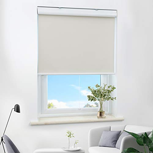 HOMEDEMO Roller Shades for Windows, Blackout Room Beigeening Shades and Cordless Blinds for Bedroom Home Windows (with Valance), Beige - 31