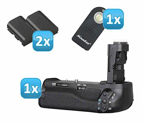 Meike Batteriegriff kompatibel mit Canon EOS 90D, 80D und 70D - Ersatz für BG-E14 - für 2X LP-E6 und 6 AA Batterien + 2X LP-E6 Nachbau-Akkus + 1x Infrarot Fernbedienung