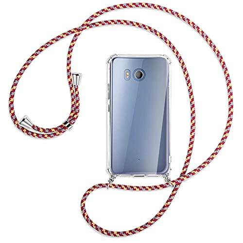 mtb more energy® Handykette kompatibel mit HTC U11 (5.5'') - rot+gelb gestreift - Smartphone Hülle zum Umhängen - Anti Shock Full TPU Hülle