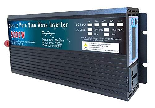 Inversor 4000W 5000W Inverter de Onda sinusoidal Pura DC12V 24V 48V 60V a AC 110V 220V Convertidor de Voltaje de energía Solar de energía (Color : 24V 5000W, Output Voltage : 220V 230V 60Hz)