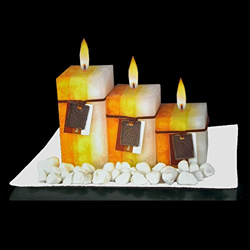 New Gift Set with 3 Scented Aromatic Mood Wax Candles Glass Plate Stones Candle (Jasmine & Sweet Orange)