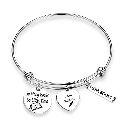 Book Lover Gifts Love Books Bracelet So Many Books So Little Time Reading Bangle Literary Jewelry Writers Author Student Librarian Gift (BR-So Many Books)
