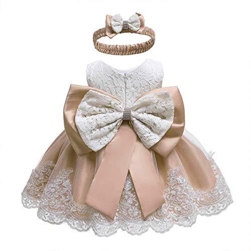IBAKOM - Vestido de flores para niños pequeños y niñas, para fiesta de cumpleaños, con bordado, para vacaciones, para baile, con cinta para la cabeza albaricoque 2-3 Años