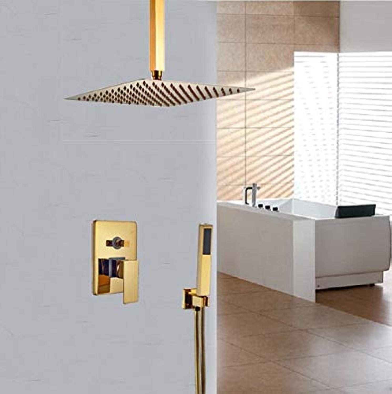 Deckenmontage Gold Polish 8-in-Duschset Bad Dusche Jets Hot & Cold Wasserhahn, Dark Khaki