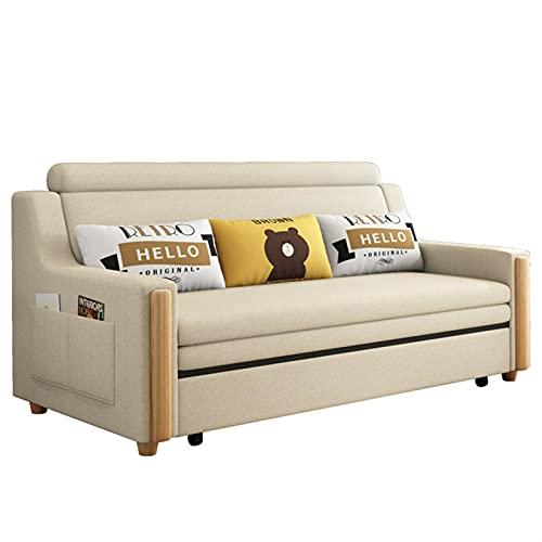 HMBB 3 plazas de Tela sofá Cama Moderno sofá sofá sofá con Cojines for Sala de Estar/habitación (Beige)