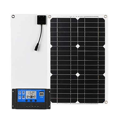 Zootealy 18W 12V Solar Panel Kit Dual USB Port Off Grid Monocrystalline Module with Solar Charge Controller SAE Connection Cable Kits